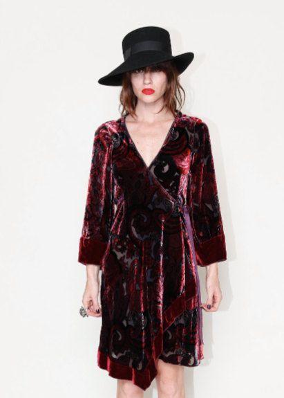 Burnout crushed velvet kimono dress. $98.00, via Etsy.