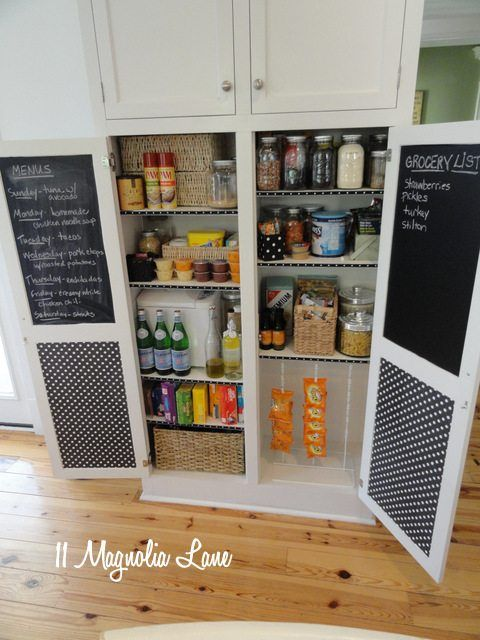 Even a small cupboard-sized pantry can be beautifully organized!  We added chalkboard adhesive paper to the cupboard doors to keep track of menu plans and shopping lists, and hit HomeGoods for baskets, canisters, and jars to keep things pretty and today.  {Sponsored pin}