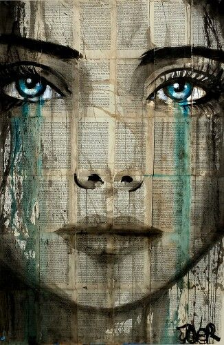 Loui Jover (inks on removed vintage book pages adhered together to make one sheet ready for framing as desired)