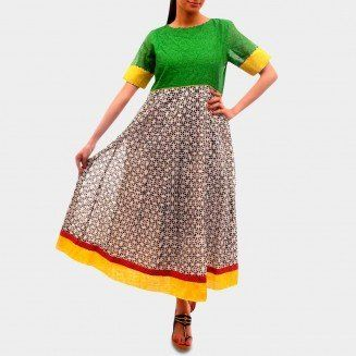 The Green Geometric Anarkali