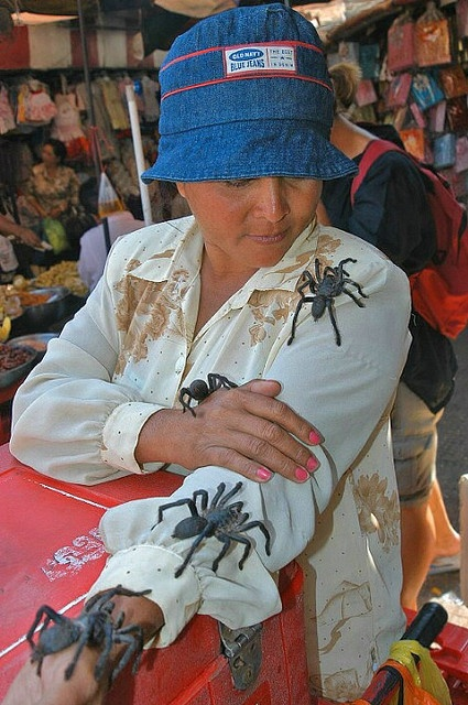 Tarantula saleslady in Phnom Penh, Cambodia....by Glosack, via Flickr