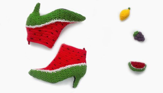 Made by Fruit Punch, these Watermelon Booties are all about fashion and function! #crochet #art #fashion #shoes #wearablesWatermelon Booty, Fruit-Punch Shoes, Crocheted Fruit Shoese 2, Crochet Shoes, Etsy, Fruit Design, Watermelon Shoes, Crochet Watermelon, Fruit Punch Shoes