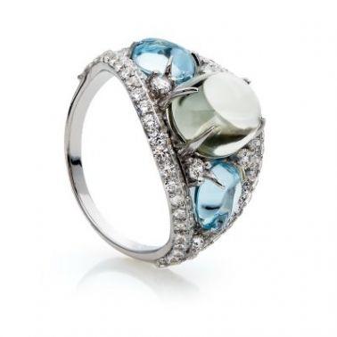 Кольцо с топазом в серебре