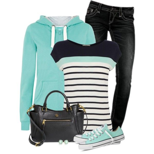 Mint Hoodie and Striped T-Shirt
