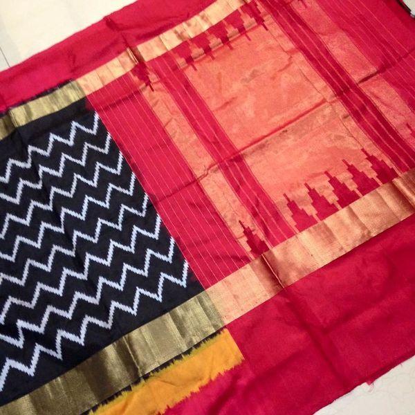 Buy IKS9100001-THAMBOORI's Handwoven Ikat Silk-double-Black red beauty, 900g online - Handwoven Kanchivarams,Soft Silks, Silk Cottons and Tussars!