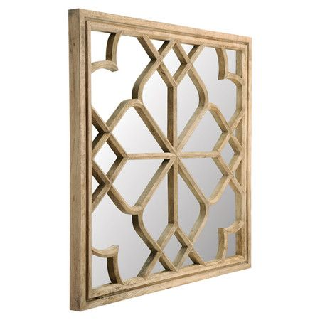 Wall mirror with wood frame and openwork overlay.   Product: MirrorConstruction Material: Glass and wood...