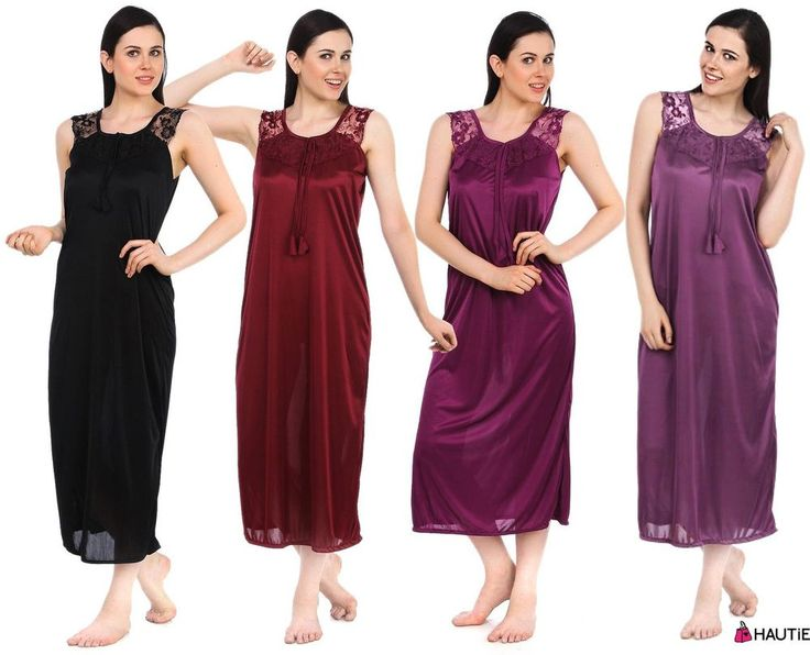 LADIES SATIN LACE LONG NIGHTDRESS NIGHTY CHEMISE LACE DETAIL SIZE 8-14