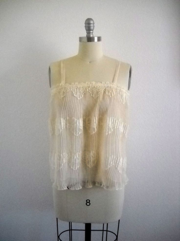 Vintage Pleated Organza and Lace Cream Cami Top by valeriecade on Etsy https://www.etsy.com/listing/160784070/vintage-pleated-organza-and-lace-cream