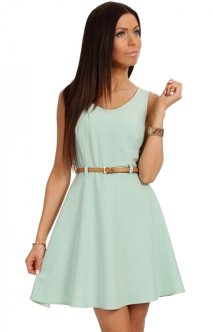 Sukienka MOE032 Moe kolor błękitny