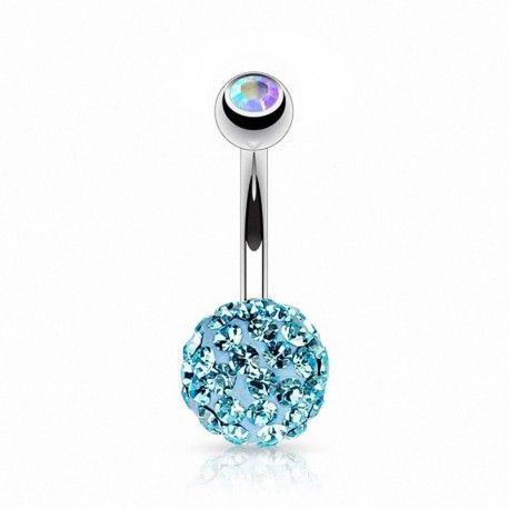 Piercing Nombril Titane boule de Cristaux turquoises. http://piercing-pure.com/p/267-piercing-nombril-boule-de-cristaux-turquoises.html #cristal #bijou #piercingnombril
