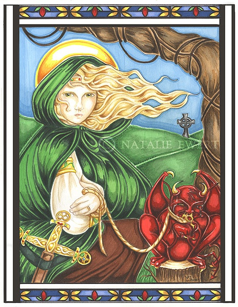 St. Dymphna of Ireland - I'd love to know who drew this, it's gorgeous.