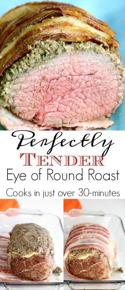 Eye of round is best when cooked to medium-rare and sliced thin against the grain. This perfectly tender eye of round roast takes just over 30-minutes in the oven for a perfect medium-rare. Perfect for Sunday supper or even a holiday dinner.