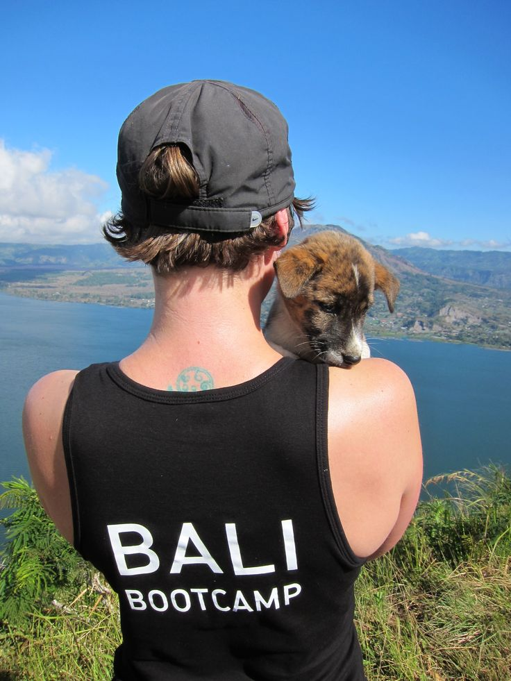 Bali Bootcamp  - Cute Puppy cuddles at the top of the Volcano Climb Next Bali Bootcamp Retreat with Kari On Training is from June 21st-26th. Go to KariOnTraining.com.au for more details
