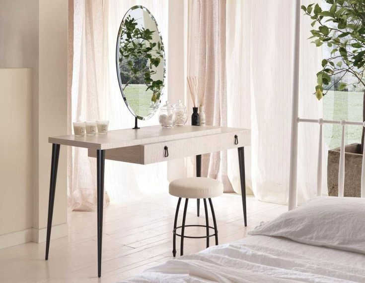 Outstanding Furniture For Girl Bedroom Decoration Using Vanity Dressing Table Lamp : Marvelous Furniture For Modern White Girl Bedroom Decoration Using Round Padded Makeup Chair Including Modern White Dressing Makeup Table And White Drapery Bedroom Curtain