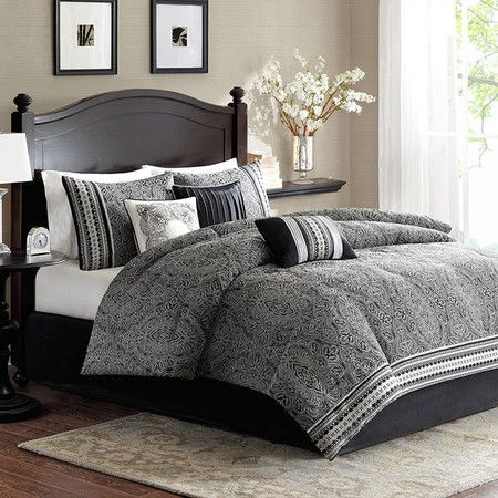Refresh your master suite or guest room with this lovely comforter set, showcasing a jacquard motif for eye-catching appeal.  Produc...