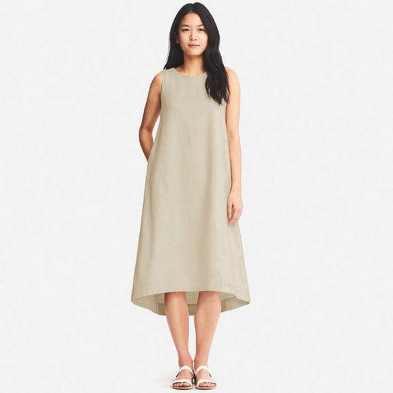 01ae6a6118 UNIQLO WOMEN LINEN BLEND SLEEVELESS DRESS