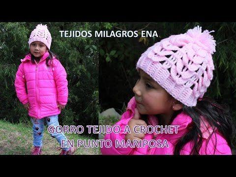 Gorro Punto Mariposa Tejido a Crochet - TODAS LAS TALLAS - YouTube