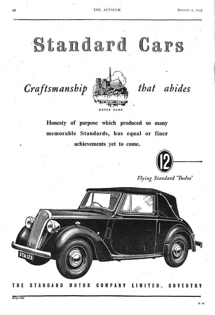 Flying standard twelve 12 motor car autocar advert 1945