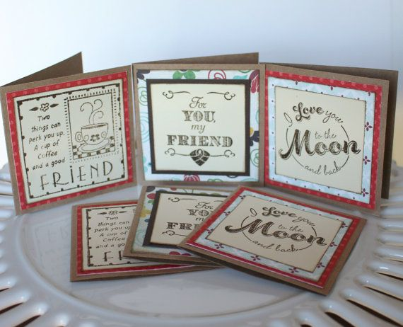Stamped gift enclosure cards, Friendship enclosure cards, assorted mini cards 3 x 3, small note cards, favor cards, set of 6