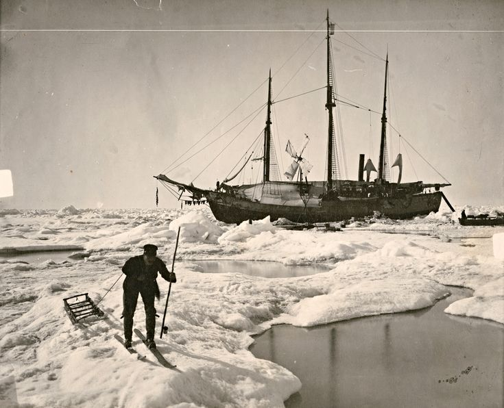 Henrik Greve Blessing, on his way to collect algae samples. The Fram is in the background. Photograph by Fridtjof Nansen, Arctic Ocean, 1894...
