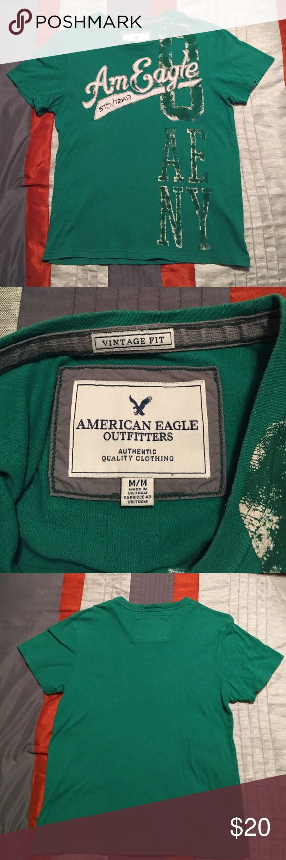 American Eagle Shirt Green with white lettering American Eagle Outfitters Shirts Tees - Short Sleeve