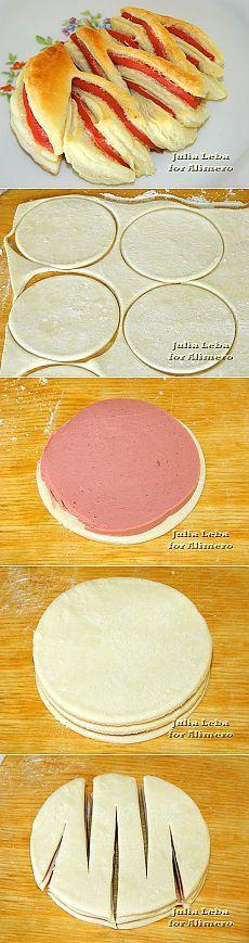 Нарезные слойки с Докторской колбасой