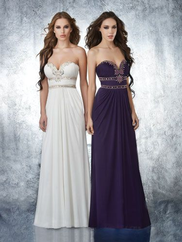 Purple-And-White Dresses With Draped, Empire Waists