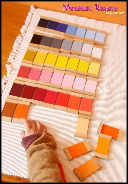 Caja de color 3 Montessori - Educación del sentido cromático - Creciendo con Montessori
