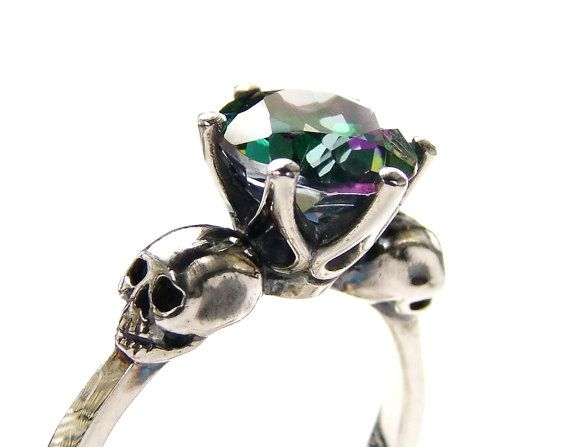 Sterling Goth Skull Engagement Ring Mystic Topaz Silver Ring Green Pink Gemstone Memento Mori Womens Ring All Sizes Psychobilly This scary but