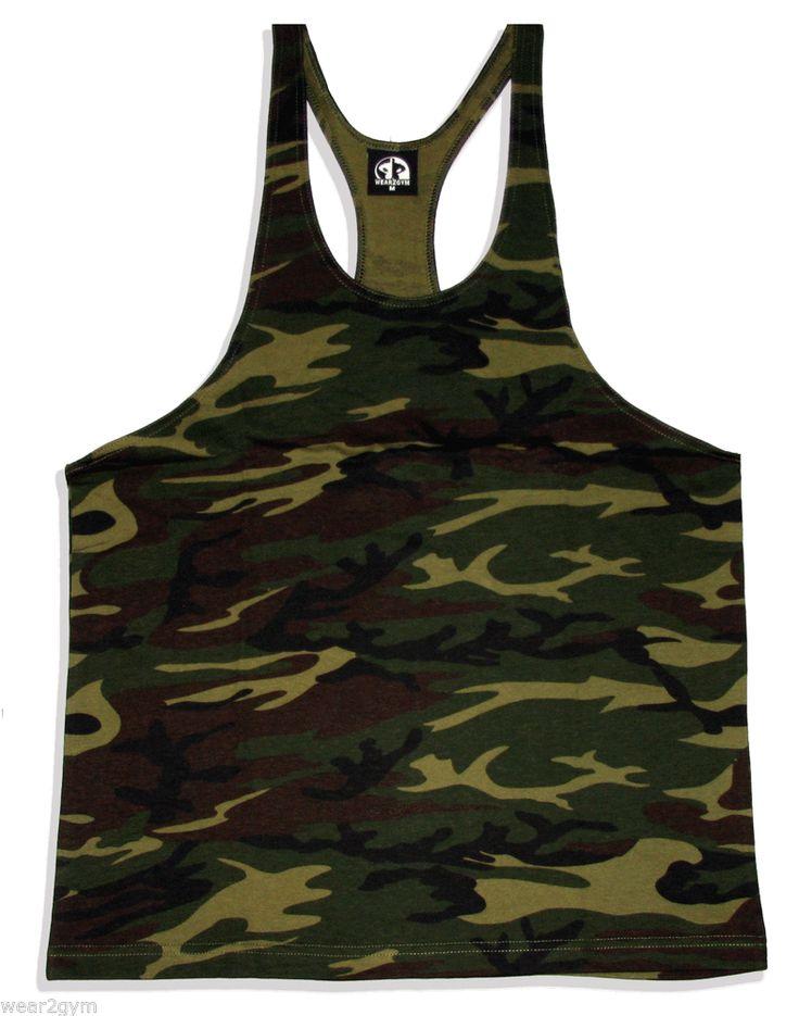 Stringer vest plain camo y back racerback bodybuilding gym for Best shirt to wear under ballistic vest