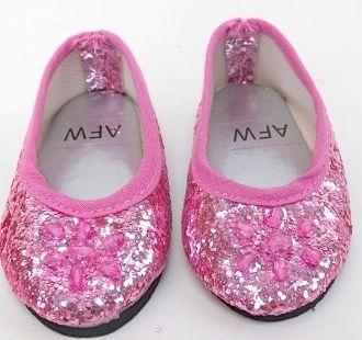 Doll dress up light PINK Jeweled glitter flats doll dress shoes