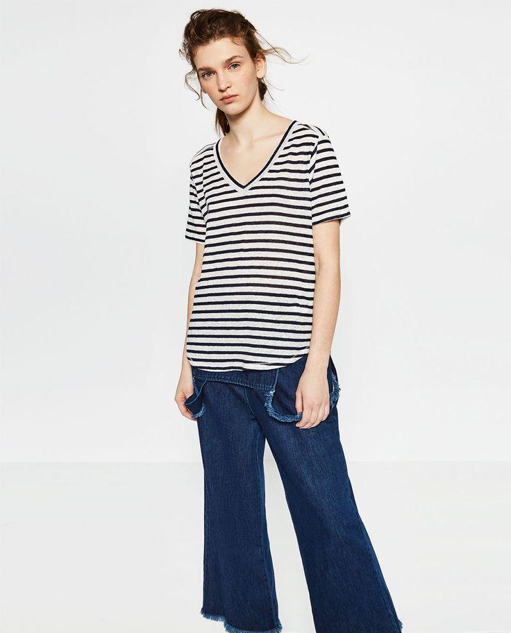 ベーシックリネンTシャツ-半袖-Tシャツ-レディース | ZARA 日本