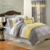 "Amazon.com: ""Shelly"" Oversized & Overfilled 8 Piece Yellow & Grey Comforter Set, Queen Size: Home & Kitchen"