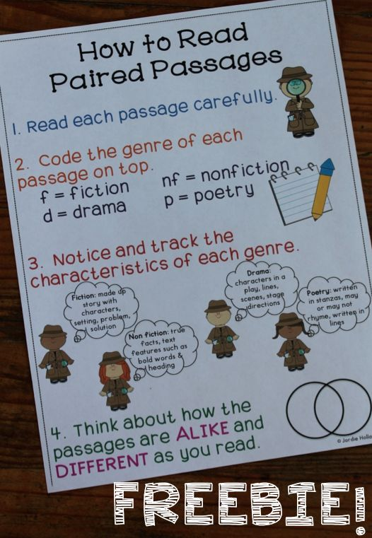 Free Paired Passages Anchor Chart for Close Reading ...