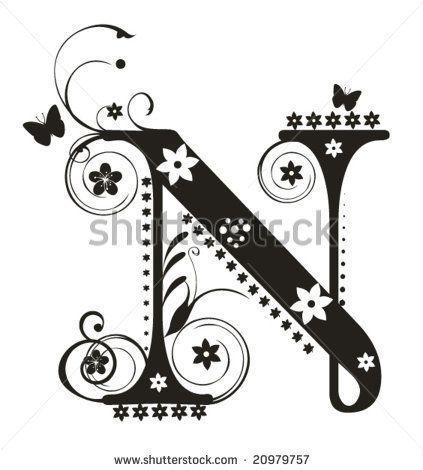 Whimsical Letter N   Stitchery   Pinterest   Lettering ...