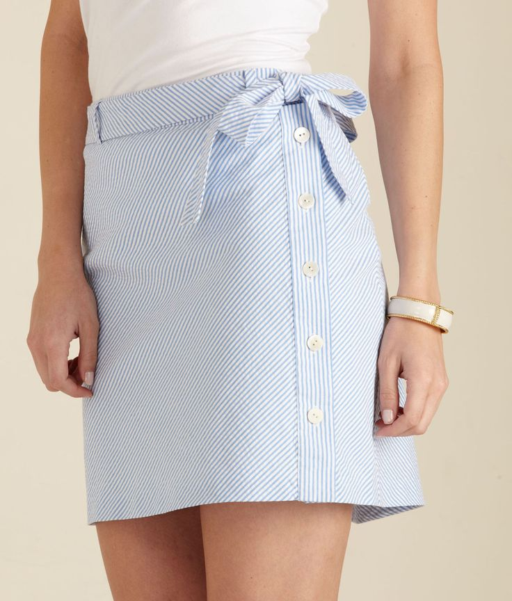 Vineyard Vines seersucker skirt. Maybe use a shirt? Love the buttons on the side.