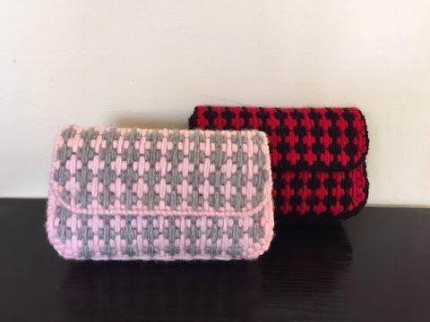 Plastic Canvas Mosaic Stitch Bag tutorial*Φτιάχνουμε τσαντα απο πλαστικο...