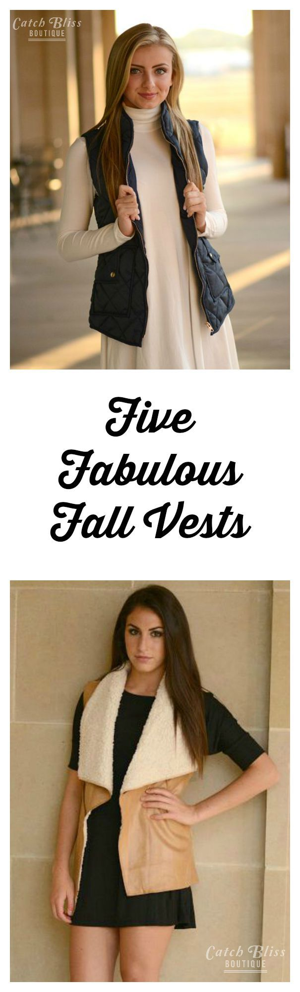 Five fabulous fall vests. Each vest is comfortable and stylishly warm.  There are endless styling options with each vest. Stay warm and stylish this season. See our entire fall vest collection! Free shipping on orders $50 and over!