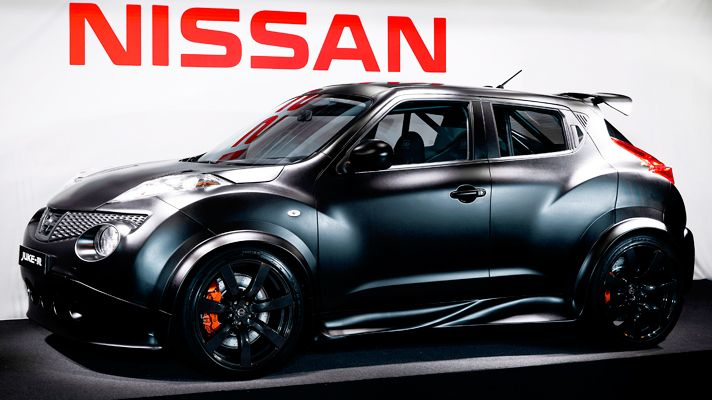 Nissan Juke-R: first pic of finished car.  THe Juke-R is a standard Nissan Juke, with the engine and AWD system from a Nissan Skyline.  This is a one off concept car, but Nissan spokespeople haven't said it will never be built.  I'd drive one!