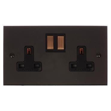 2 Gang Plug Socket |Brass |Bevelled Plate | Electrical | Jim Lawrence