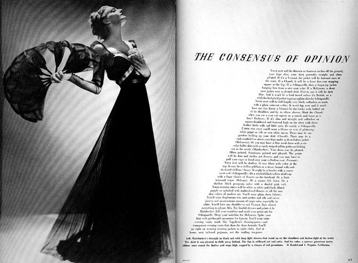 30 Glorieuses : Alexey-Brodovitch Harper The Consensus of Opinion -1936, Texte placé en harmonie et résonance avec la photo. Il fait preuve de dialogue, d'inventivité, et de logique visuelle afin d'unifier le magasine en son entier.