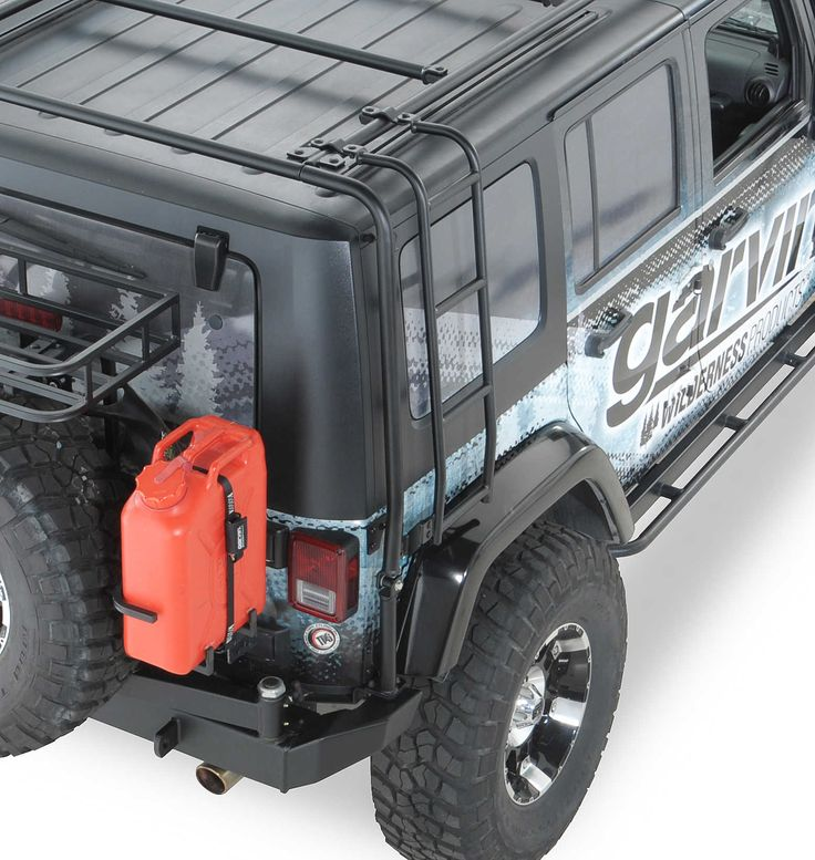"""The JK Adventure Rack Ladder is manufactured from 1"""" dia. steel tubing and bolts directly to the JK Adventure Rack. The Adventure Rack basket is not required to utilize the ladder accessory. Fits on both 2 and 4 door JK's, with Adventure Rack installed."""