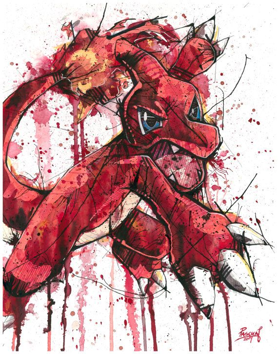 Charmeleon Pokemon Video Game Character Watercolor Print Charmeleon