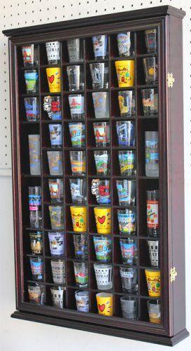 56 Shot Glass Display Case Holder Cabinet Holder Rack, Glass door - NEW