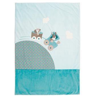 Couverture en velours 120 x 85 cm bleu motifs brodés, Gaston & Cyril