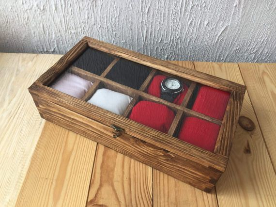 Wood box Ready to ship Rustic Men's Watch Box for 8