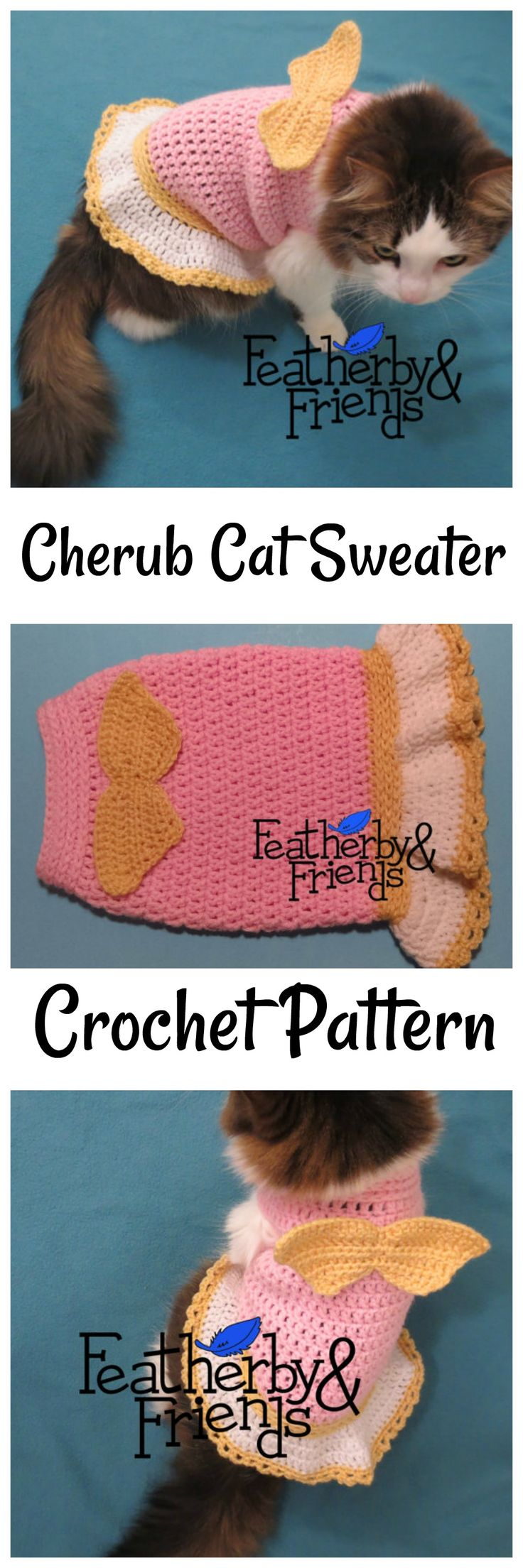 Little Cherub Pet Sweater crochet pattern for your furry little friend! #etsy #etsyseller #ad #cats #angel #catclothes #lol