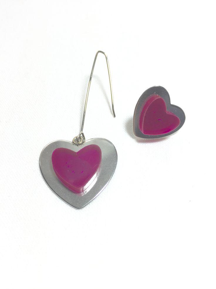 Fuchsia Heart Asymmetrical Earrings