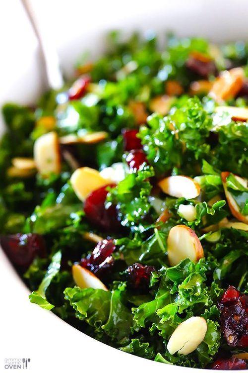 Kale Salad with Warm Cranberry Almond Vinaigrette