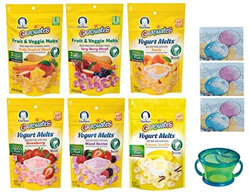 Gerber Graduates YOGURT MELTS Variety Pack  Snack Catcher Disposable Bibs and Sanitizing Hand Wipes 4 Yogurt Melts and 2 Fruit and Veggie Melts Baby Care Package Gift Bundle of 6 Melts >>> Want to know more, click on the image.